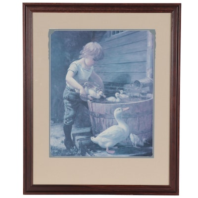 "Offset Lithograph after Henry Grant Plumb ""Mother's Helper"""