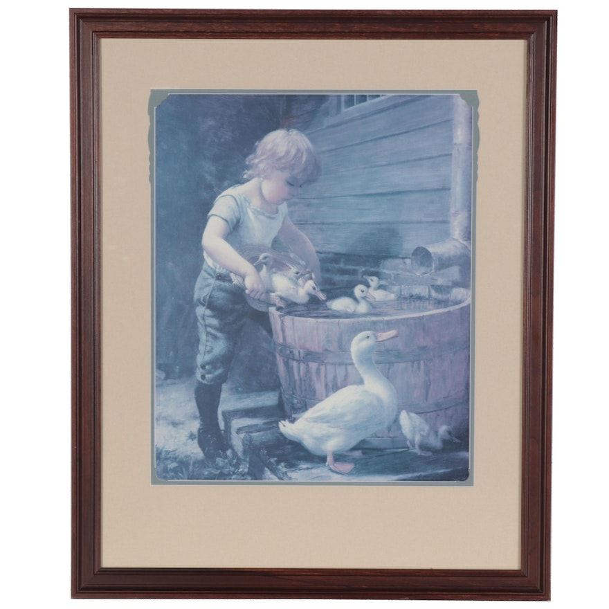 """Offset Lithograph after Henry Grant Plumb """"Mother's Helper"""""""