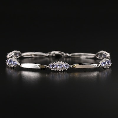 10K Tanzanite and Diamond Link Bracelet