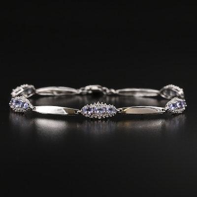 10K Tanzanite and Diamond Link Bracelet