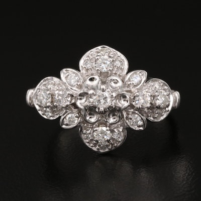 10K Diamond Flower Cluster Ring