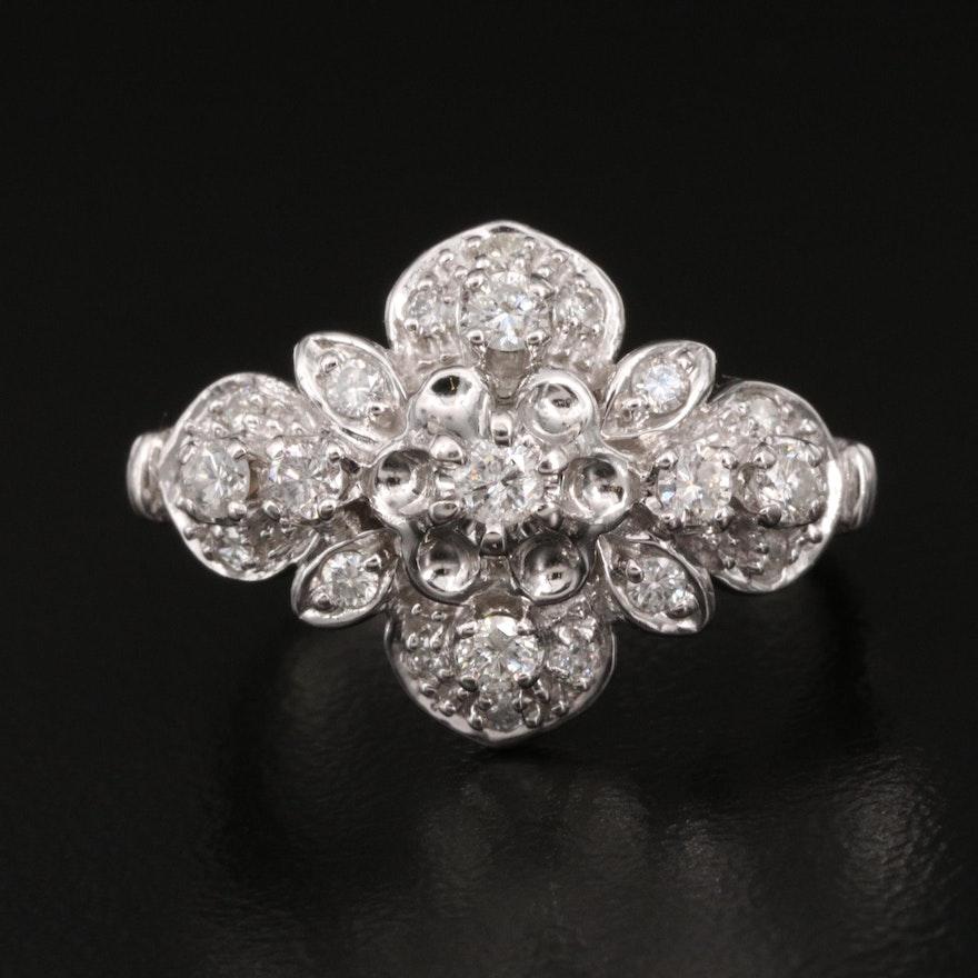 10K Diamond Flower Cluster Ring