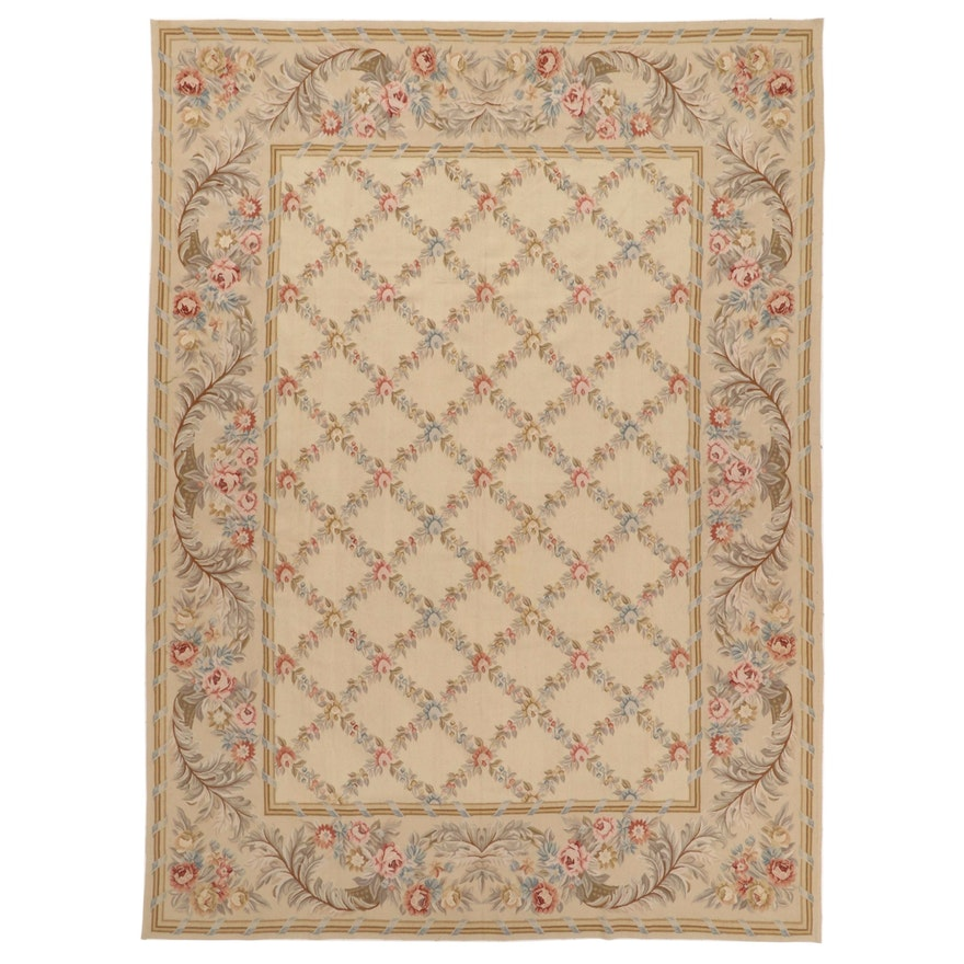 9' x 12'3 Handwoven Chinese Aubusson Style Room Sized Rug