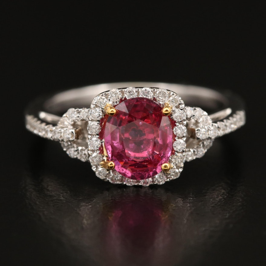 18K 1.26 CT Ruby and Diamond Ring with GIA Report