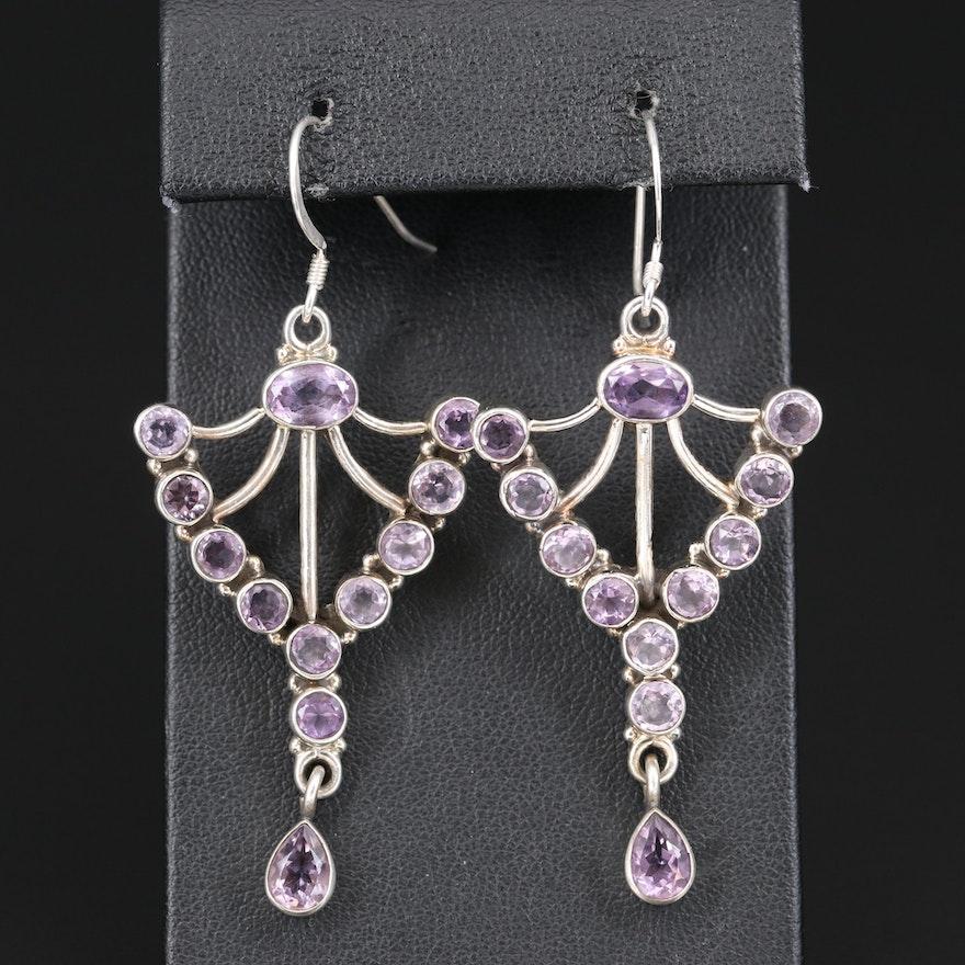 Sterling Amethyst Earrings with Drops