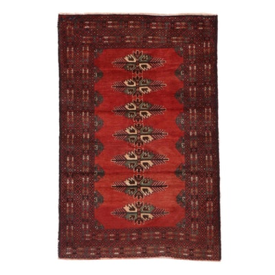 3'1 x 4'8 Hand-Knotted Afghan Turkmen Accent Rug