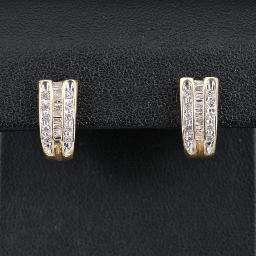 14K Diamond J-Hoop Earrings