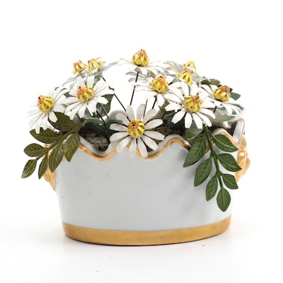Ted Arnold Porcelain Flower Pot with Enameled and Metal Flowers