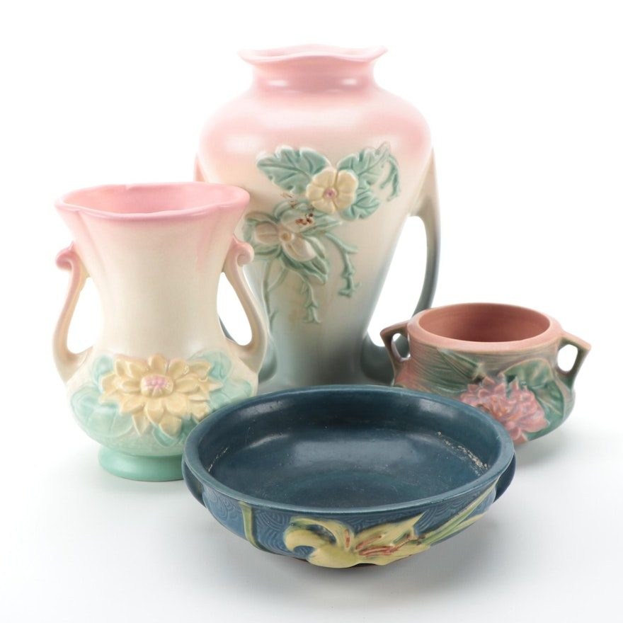 Hull Pottery Double Handled Vases with Roseville Low Bowl and Jardinière