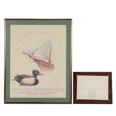 """Barbara Turner Embossed Offset Lithograph """"Mallards to Mainsails"""""""