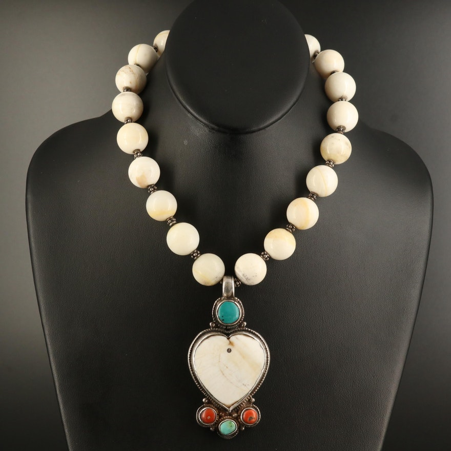 Sterling Shell, Coral and Turquoise Heart Bead Necklace