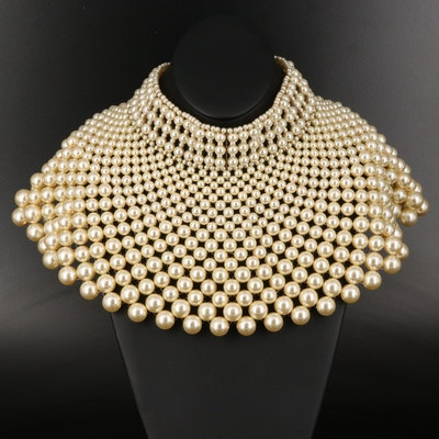 Graduated Imitation Pearl Bib Necklace
