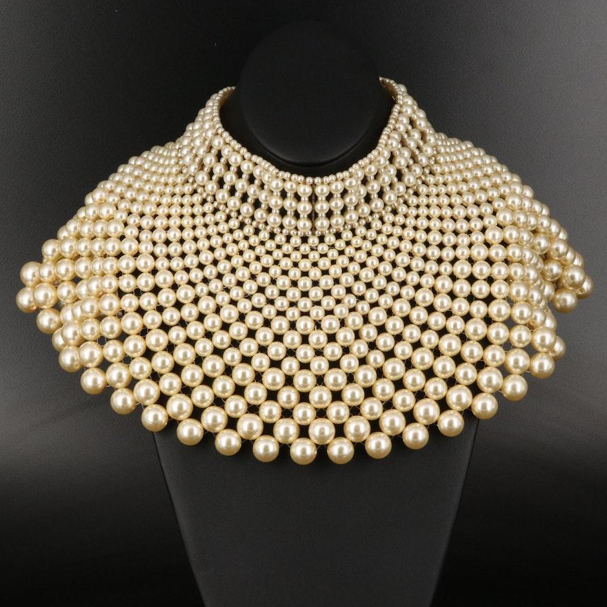 Graduated Imitation Pearl Bib Necklace