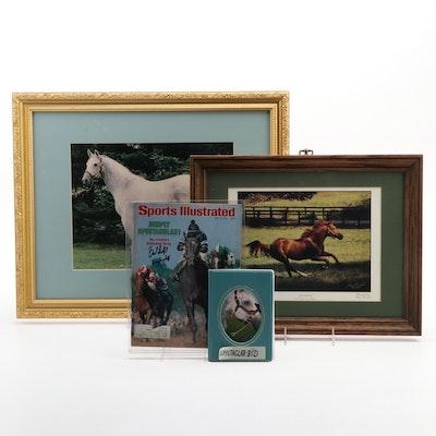 Secretariat Signed 1975 Print, Spectacular Bid Photos, Derby Signed 1979 SI