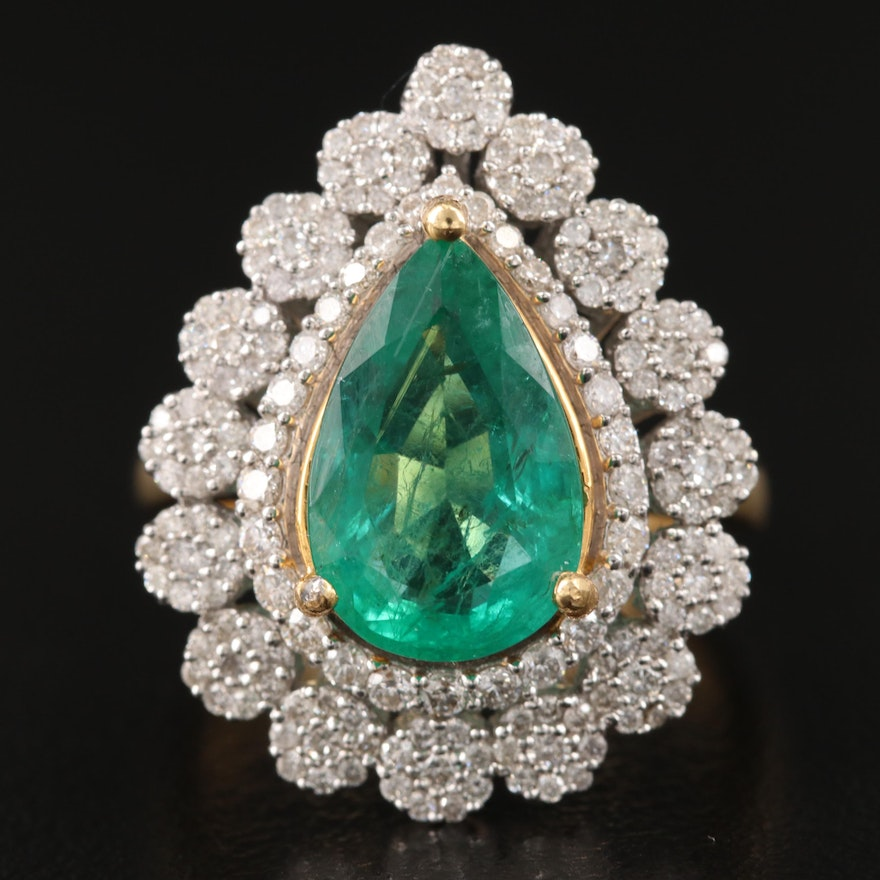 18K Two-Tone 2.95 CT Emerald and Diamond Ring