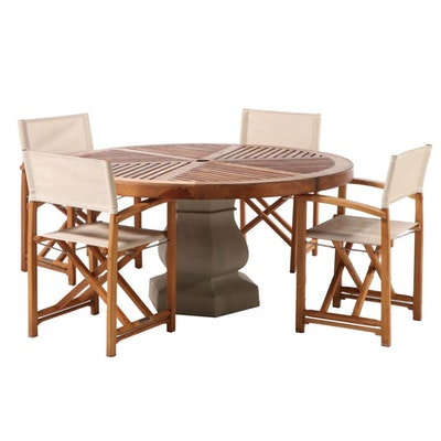 Kingsley-Bate Contemporary Teak Outdoor Dining Set with Capri Chairs