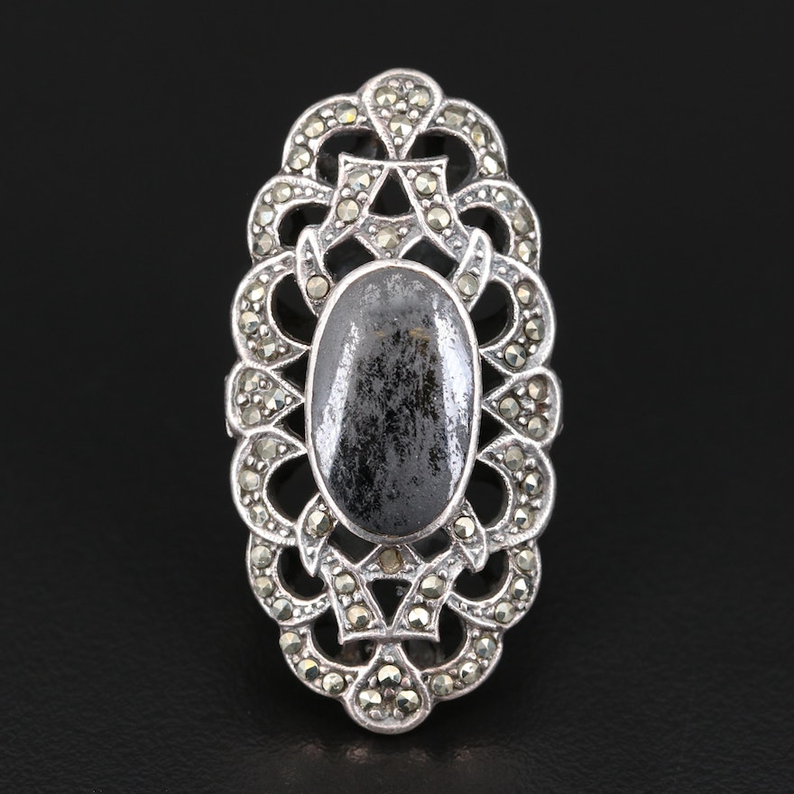 Sterling Black Onyx and Marcasite Openwork Pointer Ring