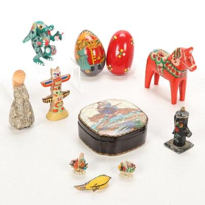Nils Olsson Swedish Horse, Villeroy & Boch Trinket Box and Other Figurines