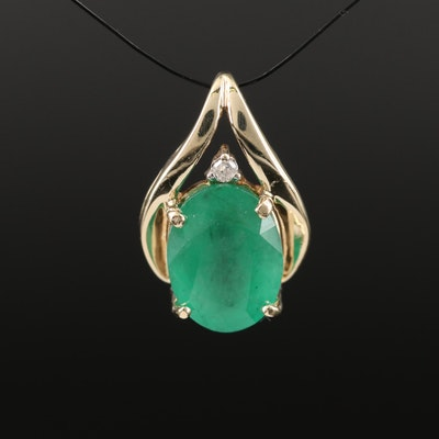 10K 2.05 CT Emerald and Diamond Pendant