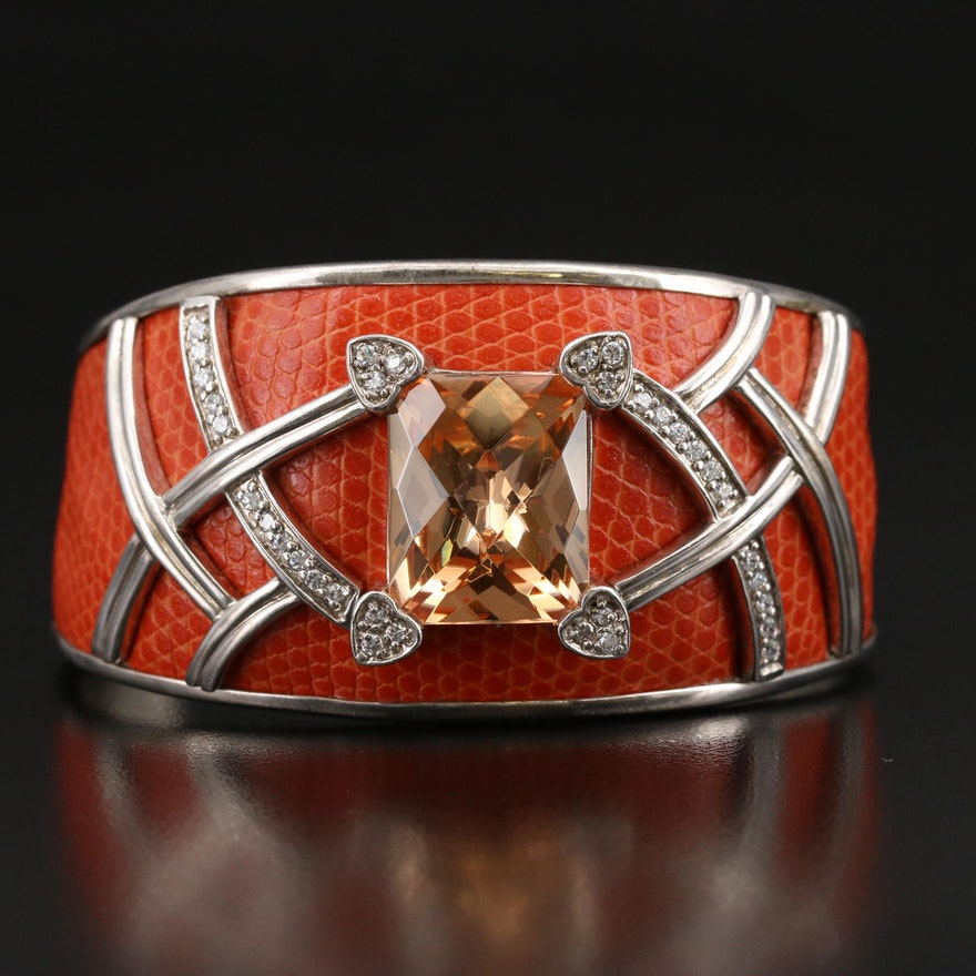 Sterling Cubic Zirconia Tapered Cuff