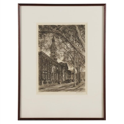 "Samuel Chamberlain Drypoint Etching ""Nassau Hall From Chancellor Green"""