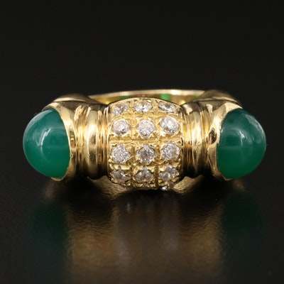 Signed 18K Chalcedony and Cubic Zirconia Ring