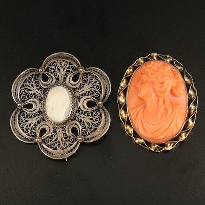 Antique 14K Coral and Shell Cameo Filigree Brooches