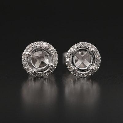 14K Diamond Halo Semi-Mount Stud Earrings