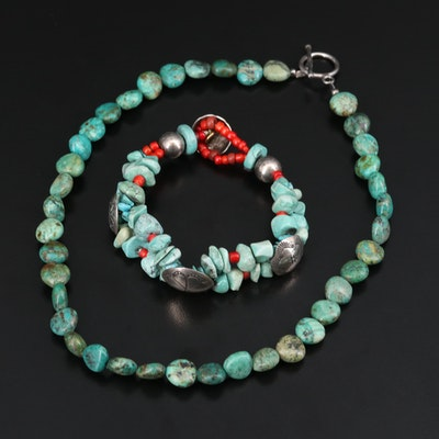Southwestern Sterling, Turquoise and Coral Double Strand Bracelet with Necklace