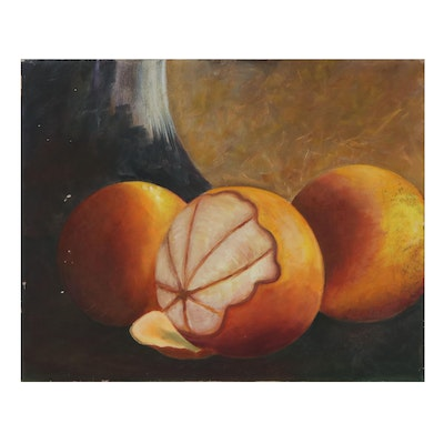 Still Life Oil Painting of an Orange, 2012