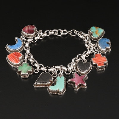 Sterling Southwestern Charm Bracelet with Turquoise, Lapis Lazuli, Spiny Oyster