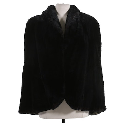 Black Dyed Sheared Beaver Cape with Collar from Lazarus