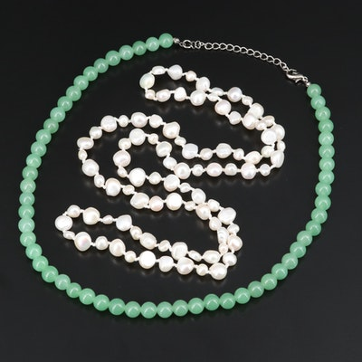 Quartz and Endless Pearl Necklaces