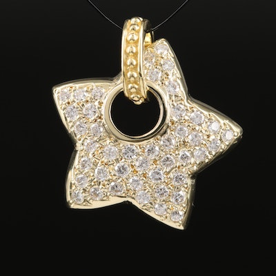 14K 1.10 CTW Diamond Star Enhancer Pendant with 18K Bail