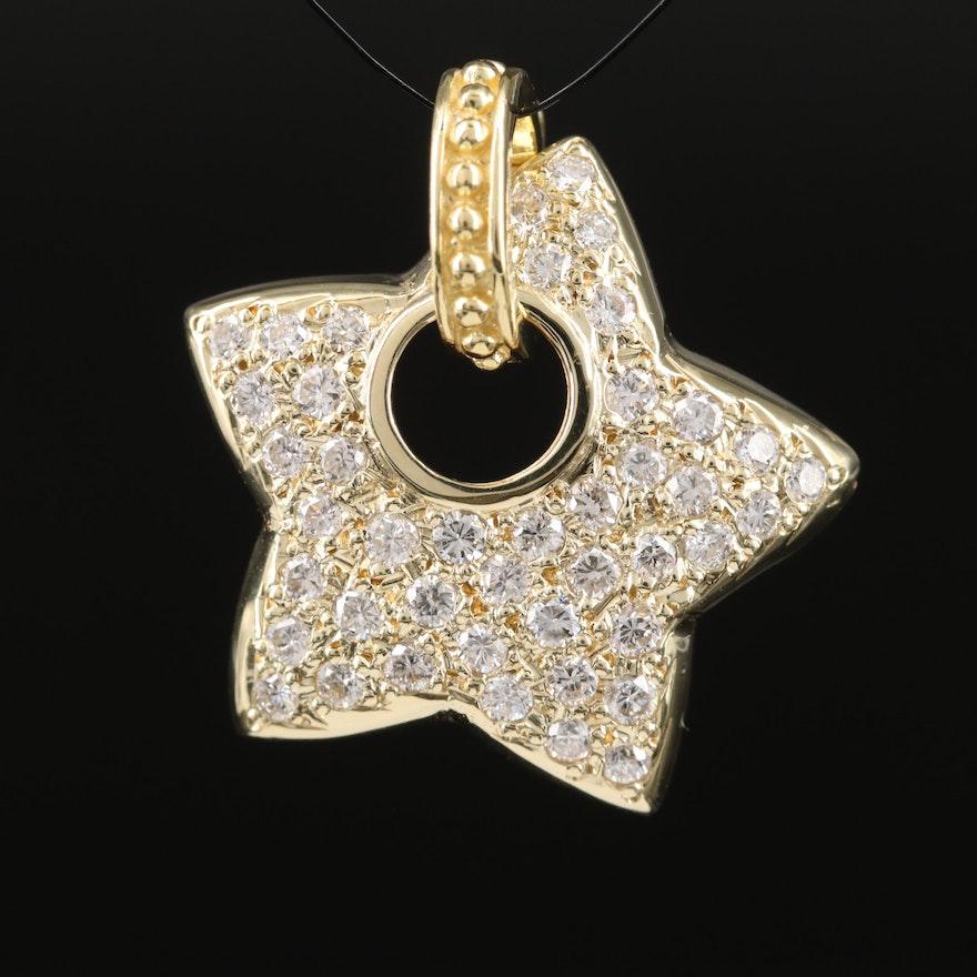 14K 1.10 CTW Diamond Star Enhancer Pendant with 18K Bail