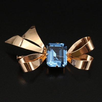 Retro 14K Spinel Bow Brooch