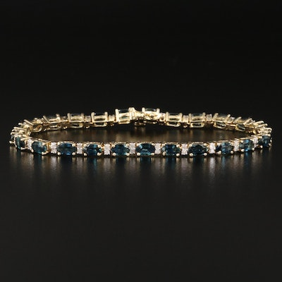 14K Sapphire and Diamond Tennis Bracelet