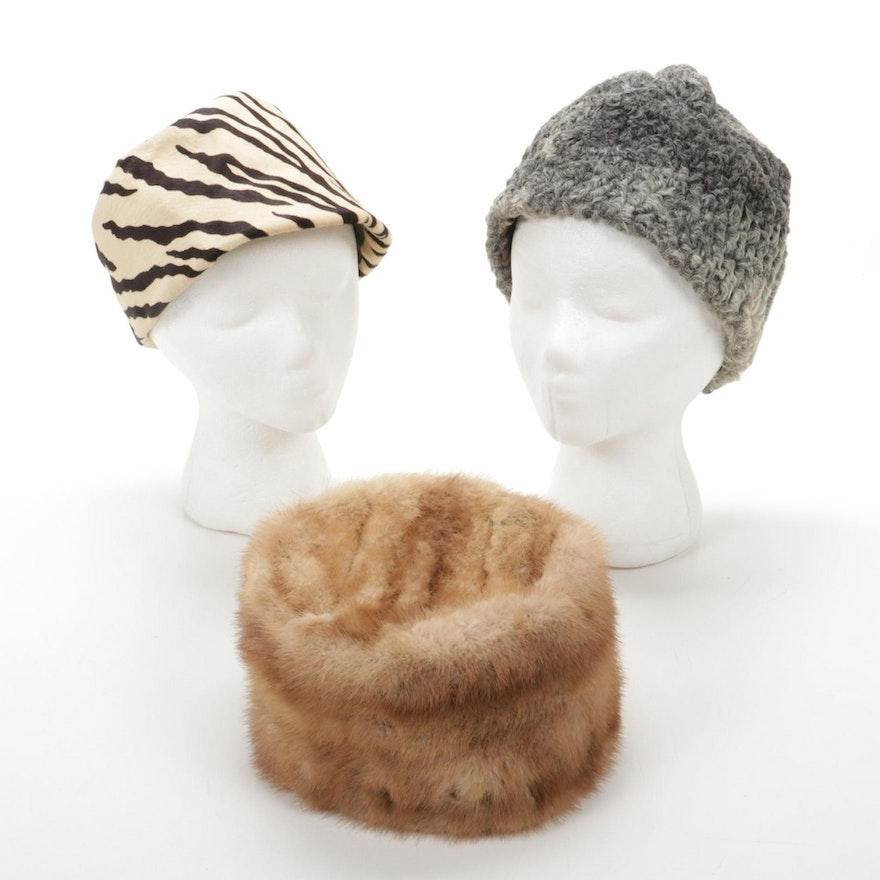 Mink Fur, Curly Lamb, and Zebra Pattern Cowhide Hats