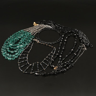 Glass and Acrylic Beaded Necklaces Featuring Ciner and Lorren Bell