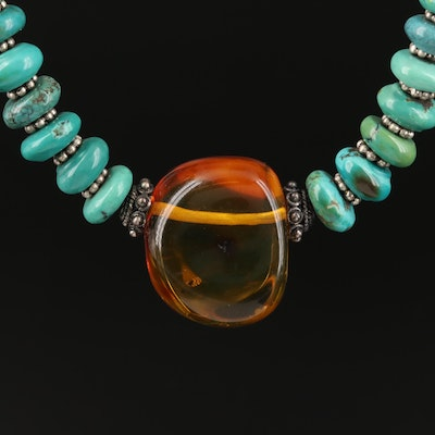 Sterling Turquoise and Amber Beaded Necklace