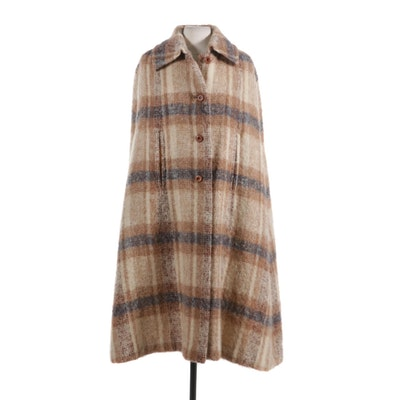 Donegal Design of Ireland Handwoven Mohair and Wool Blend Plaid Cape