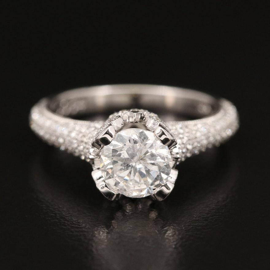 18K 1.87 CTW Diamond Ring with Pavé Shoulders
