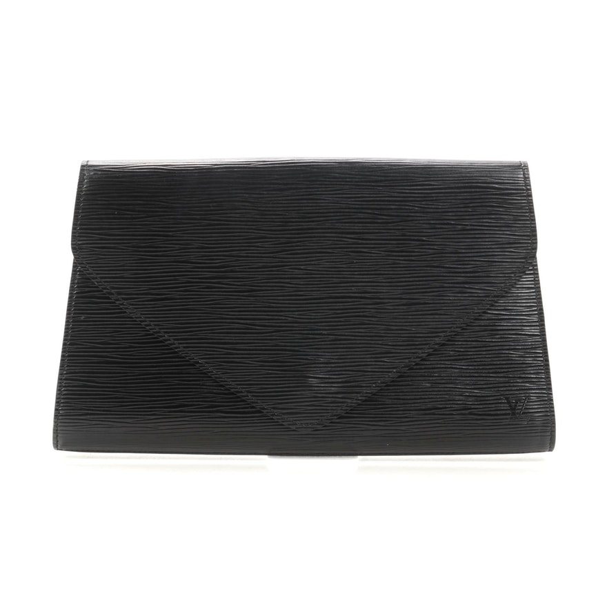 Louis Vuitton Art Deco Envelope Clutch in Black Epi Leather