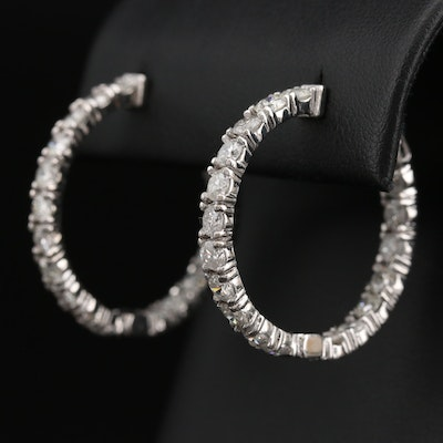 14K 4.32 CTW Diamond Inside-Out Hoop Earrings