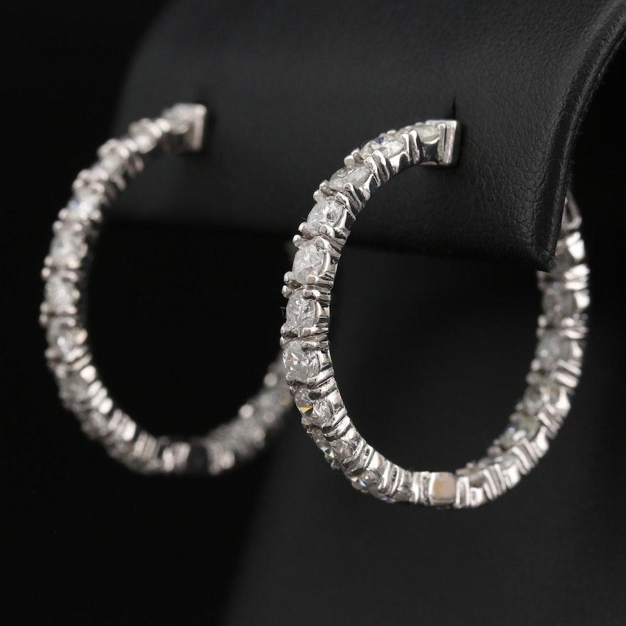 14K 4.32 CTW Diamond Inside-Out Hoop Earrings