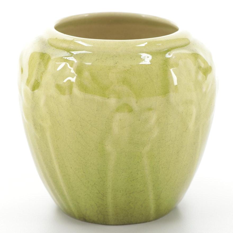 """Rookwood Pottery """"Violets"""" Chartreuse Glazed Ceramic Jardinière, 1946"""