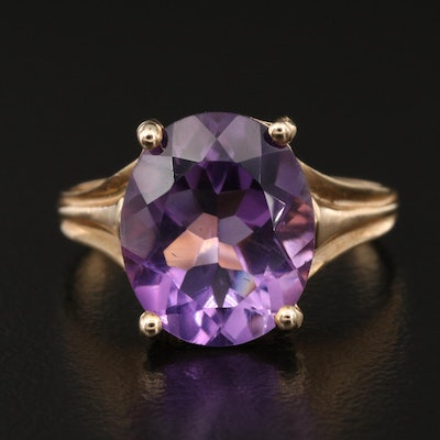 10K Amethyst Oval Ring