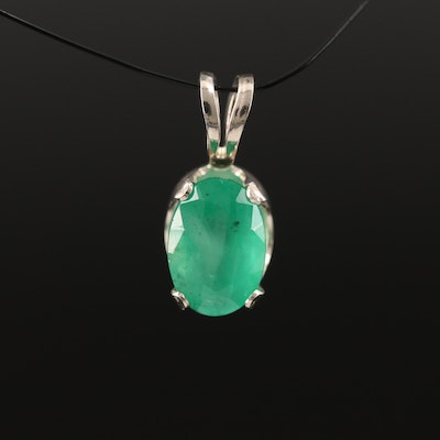 14K Oval Faceted Emerald Solitaire Pendant