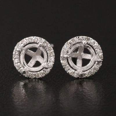 14K Diamond Semi-Mount Stud Earrings