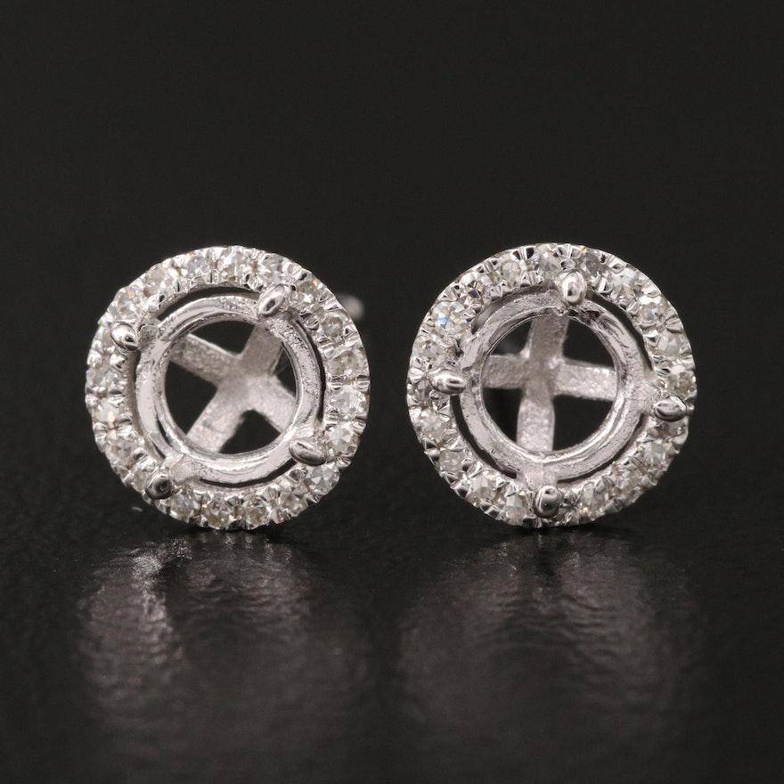 14K Diamond Semi-Mount Stud Earrings